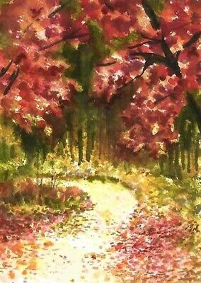 ACEO Autum painting original Fall Wood trees landscape watercolour art card