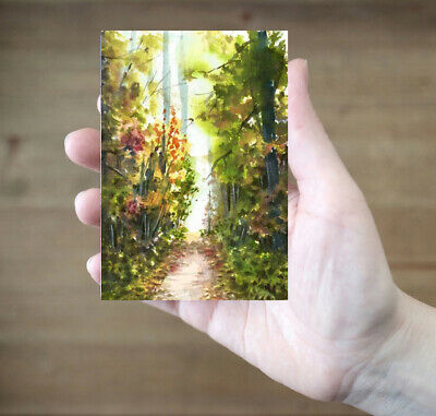 ACEO Autumn Wood road painting original Fall landscape watercolour art card