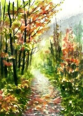 ACEO Autumn road painting original Fall landscape watercolour art card