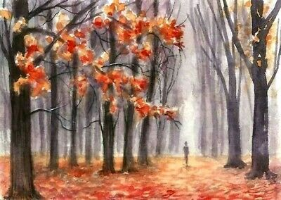 ACEO Autumn trees road painting original Fall landscape watercolour art card