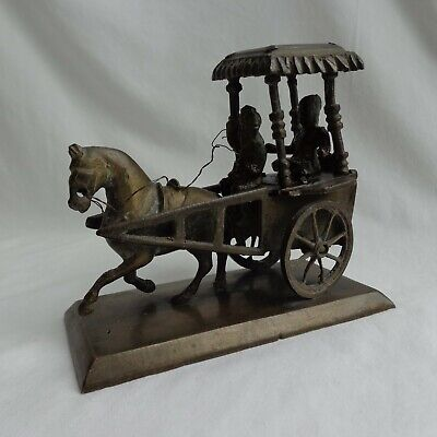 Antique c1900's Indian Solid Brass Horse & Cart With Figures Ornament / Statue
