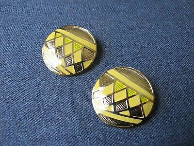Vintage signed Berebi nice design yellow enamel & golden metal rounded earrings