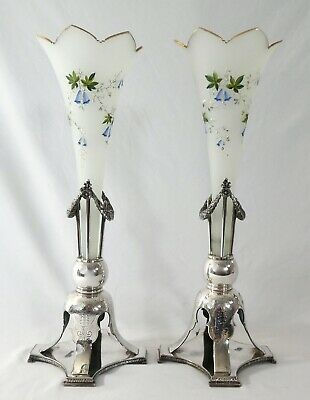 Antique PAIR of Mouth Blown Handpainted VASES& Wilcox Silver Plated HOLDERS.1885