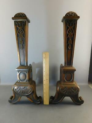 Antique Arts & Crafts Coppered Heavy Cast Iron Ornate Gothic Andirons