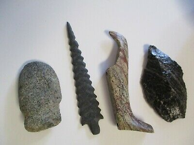 6 Antique Pot Pre Colombian Arrowhead Tool Sculpture   Primitive Stone Indian