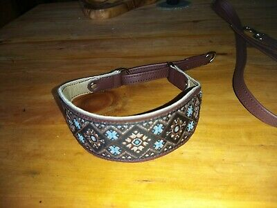 Soft Leather Silk Braid Martingale Collar Whippet Lurcher