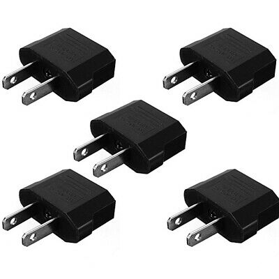 Portable 5pcs Euro EU to USA Plug Travel Charger Adapter Outlet Converter