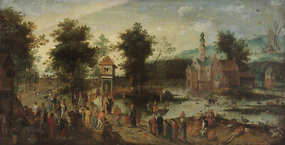 """oil painting handpainted on canvas """"Landscape with castle and tavern""""@NO6864"""