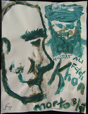 LISTED Lawrence Ferlinghetti Expressionist Acrylic Portrait Painting NO RESERVE