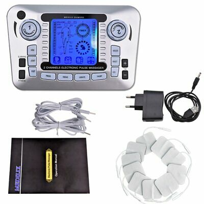 Electric EMS Tens Acupuncture Body Massager Digital Therapy Machine 10 Pads