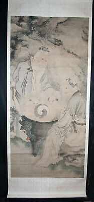 Antique Chinese Hanging Scroll Painting Watercolor - Immortals 19th Century
