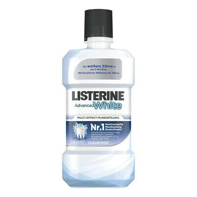 3X Listerine Advanced Blanco Enjuague Bucal con Whitening-Effekt Je 500ml Clean