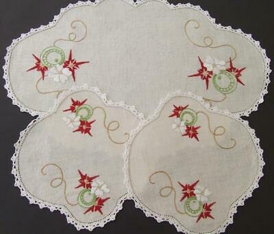 Hand Embroidered Vintage Duchess Set - Cosmic Pattern - Crocheted Edges