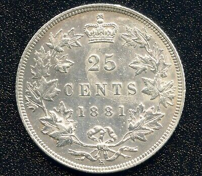 1881 'H' Canada 25 Cent Silver Coin ( 5.81 Grams .925 )