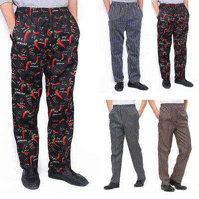 Fashion Chef Staff Pants Hotel Restaurant Elastic Comfort Cook Apparel Trousers