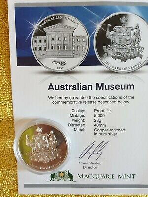 """225 Years Of Sydney """"Australian Museum"""" Collectors Medal"""