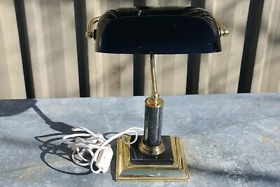 Vintage Banker Style Black Shade Lamp - Nice Desk Top Lamp