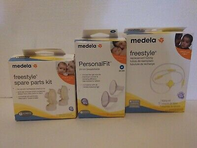 MEDELA Freestyle Lot NEW Authentic Tubing Spare Parts Kit M Breast Shields Pump