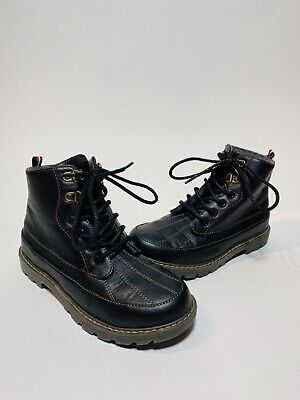 Tommy Hilfiger Boys Boots US 2 Black Leather Ronald Fleece Lined