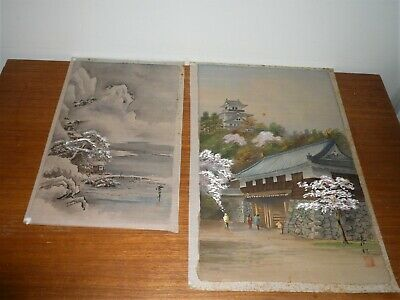 ANTIQUE 1940s ERA TWO JAPANESE PAINTINGS ON SILK BOTH SIGNED