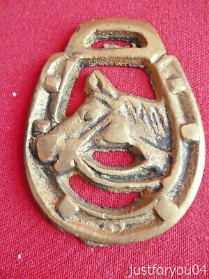 Horse Brass Horses Head in a Lucky Horse Shoe Miniature Pony Size. No 2