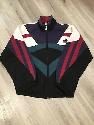 Vintage Puma Shell Jacket Fit Size 12-16 Ex Condition