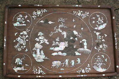 Large Antique Chinese Wooden Plate Tray with Inlay Mother of Pearl Picture