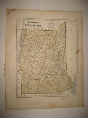 Early Large Antique 1845 Vermont New Hampshire Morse Map Railroad Roads Detailed