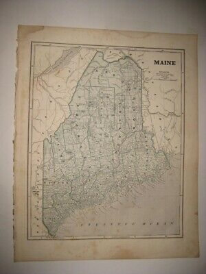 Early Large Antique 1845 Maine Morse Map Railroad Portland Bangor Detailed Rare