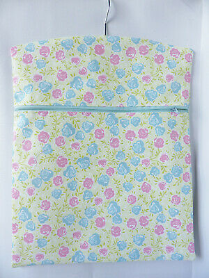 """Hand Made Peg / Hanging Storage Bag - Zipped 12½"""" x 16"""" Pink/Turquoise Floral"""