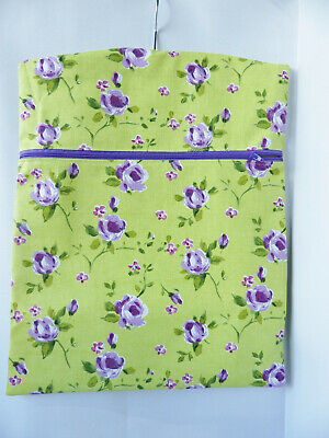 """Hand Made Peg / Hanging Storage Bag - Zipped 12½"""" x 16"""" LIME/PURPLE FLORAL"""