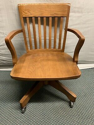 Vintage Style Solid Oak Swivel Banker Lawyer Office Desk Chair