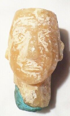 Alabaster Ancient Egyptian Head Carving Artifact Stopper