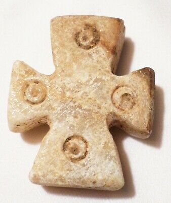 Alabaster Ancient 4Th 5Th  Century Byzantine Holy Land Cross Pendant