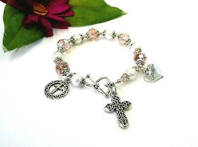 Pink AB Austrian Crystal Glass Pearl Antique Silver Goddaughters Rosary Bracelet