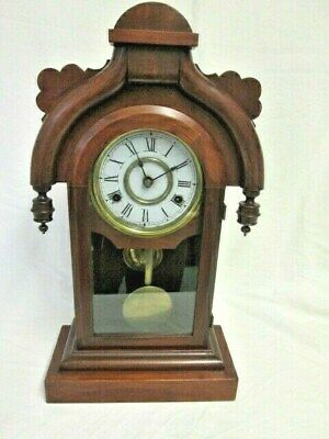 A Victorian Ansonia Mahogany/Walnut Chiming Mantel/Shelf Clock