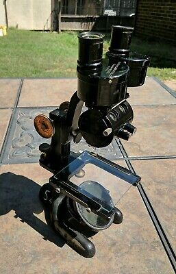 Vintage 1927 Bausch & Lomb Microscope w Barrel mounted Objectives Brass & Black