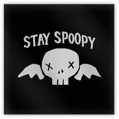"STAY SPOOPY Metal Magnet, 2"" Square, Funny Spooky Winged Skull Halloween Meme"