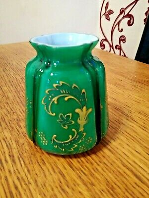 Antique Emerald Green Hand Blown Cased Glass Vase With Embossed Design