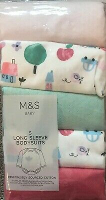 M&S Baby Pack Of 5 Long Sleeved Coloured Bodysuits Up To 1 Month~9 Lbs 14 Oz ~