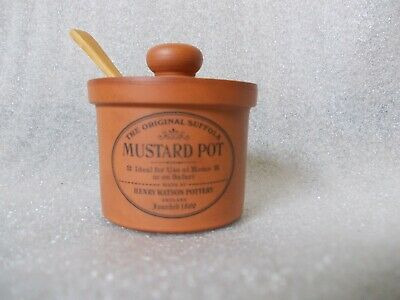 Vintage Henry Watson Terracotta Mustard Pot With Wooden Spoon