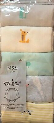 M&S Baby Pack Of 5 Long Sleeved Coloured Bodysuits 6-9 Months ~ 20 Lbs