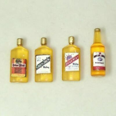 Dollhouse Miniature Vintage Style Whiskey Bottles for 1:12 Doll House Saloon Bar