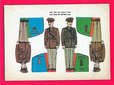 Old Military Soldiers Cut Out Cereal Premium Toys Lieutenant Captain General