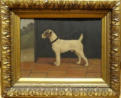 Fine 19th Century English Parsons Terrier Dog Portrait In A Stable Antique