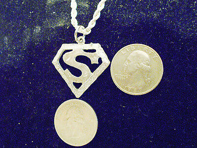 bling silver plated superman S letter name pendant charm chain necklace jewelry