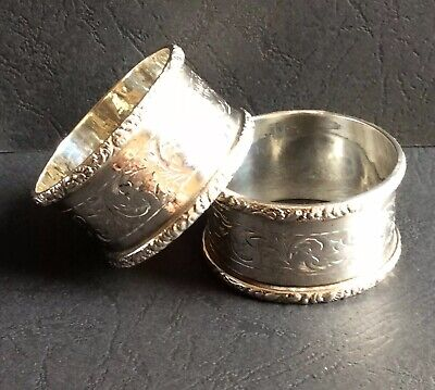 Pair of Edwardian Solid Silver Chester 1906 Napkin / Serviette Rings 48g. (19A)