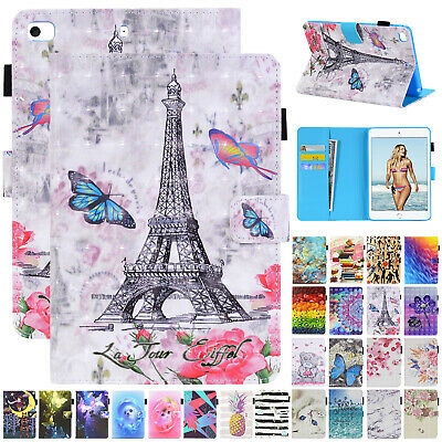 For iPad Mini 2019 5th Gen 4 3 Pro 9.7 Case Pattern Leather Flip Magnetic Cover