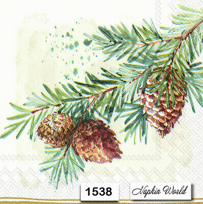 (1538) TWO Individual Paper Luncheon Decoupage Napkins - PINE BRANCH TREE CONE