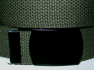 """Canvas 1 1/2"""" OLIVE MILITARY Web Fabric Belt BLACK Metal Buckle 56"""" Total Length"""